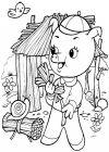 Petit cochon construit maison paille